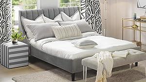 Sandy Wilson Home Aspen Platform Bed, Queen, Opal Grey
