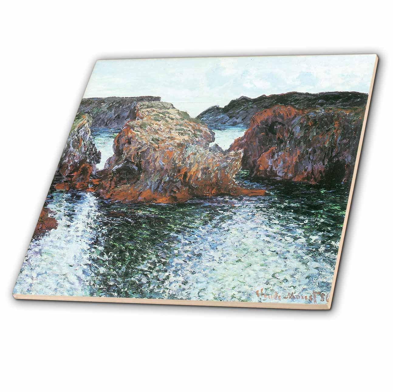 3dRose ct/_126617/_1 Rocks at Belle-Ile by Claude Monet 1886 Ceramic Tile 4-Inch
