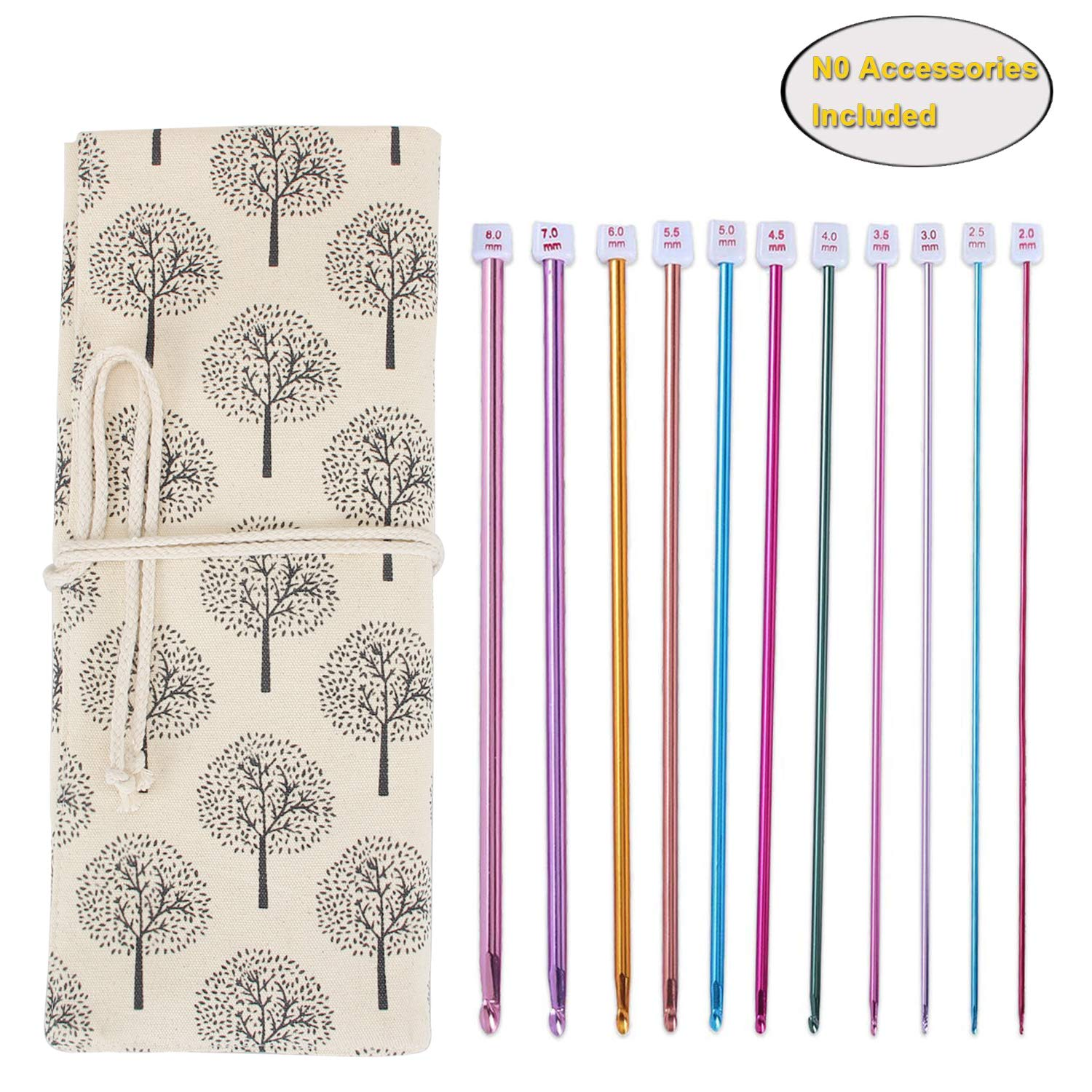 Teamoy Tunisian Crochet Hook Organizer Bag(up to 14 Inches), Cotton Canvas Roll Wrap for Afghan Crochet Hooks, Knitting Needles and Accessories, Tree