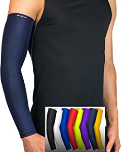 HiRui Arm Compression Sleeve, UV Protection Cooling Arm Sleeves, UPF50 Sun Sleeves Arm Covers for Men Women Kids for Running Golf Basketball Cycling, Tattoo Cover (1Pair) (Navy Blue, XL)
