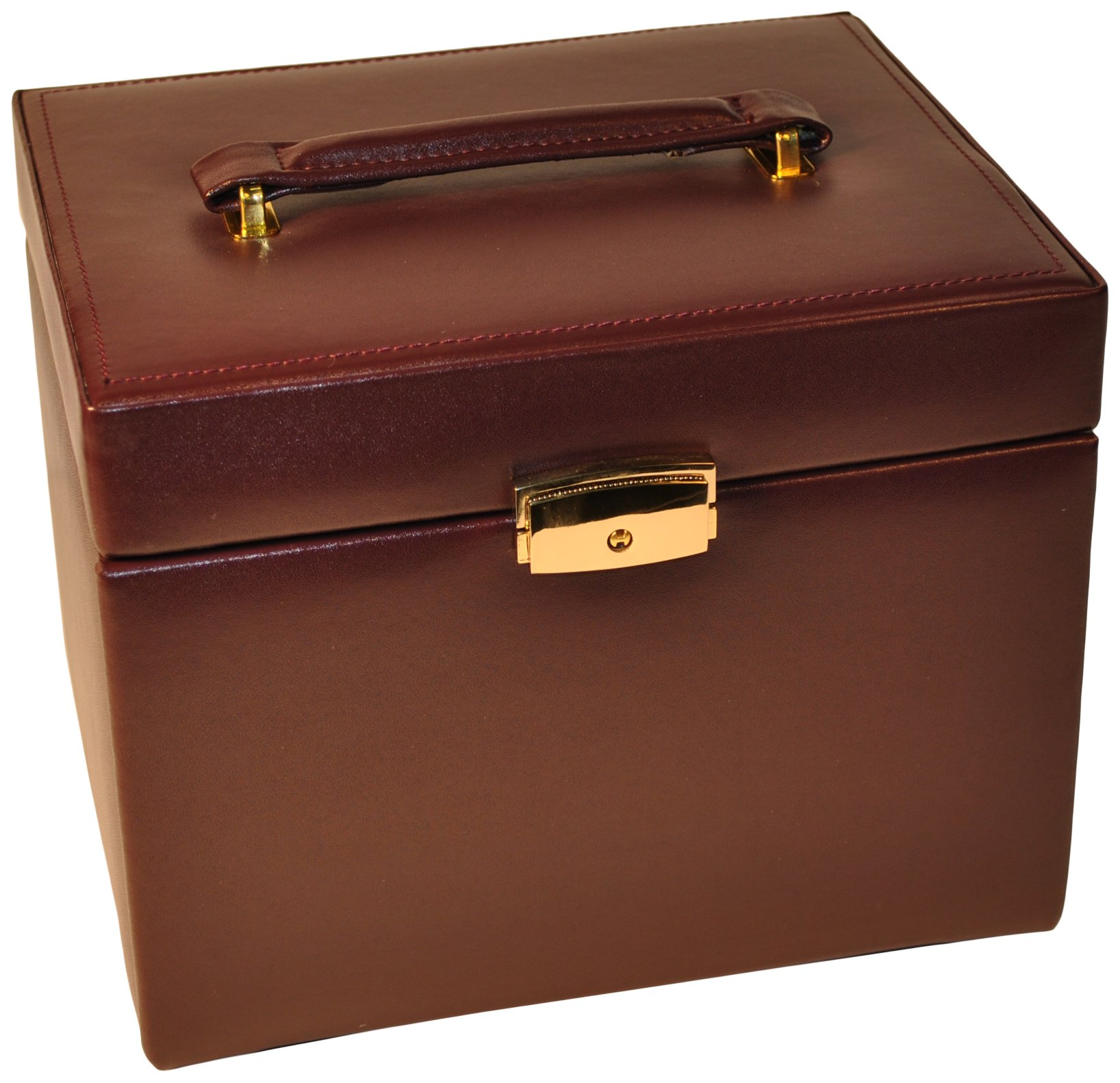 Budd Leather 4-Drawer Jewel Box with Travel Box, Large, Burgundy by Budd Leather (Image #1)