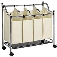 SONGMICS Wäschekorb Wäschesortierer Wäschebox Wäschewagen mit 4 × Sortierer Fächer