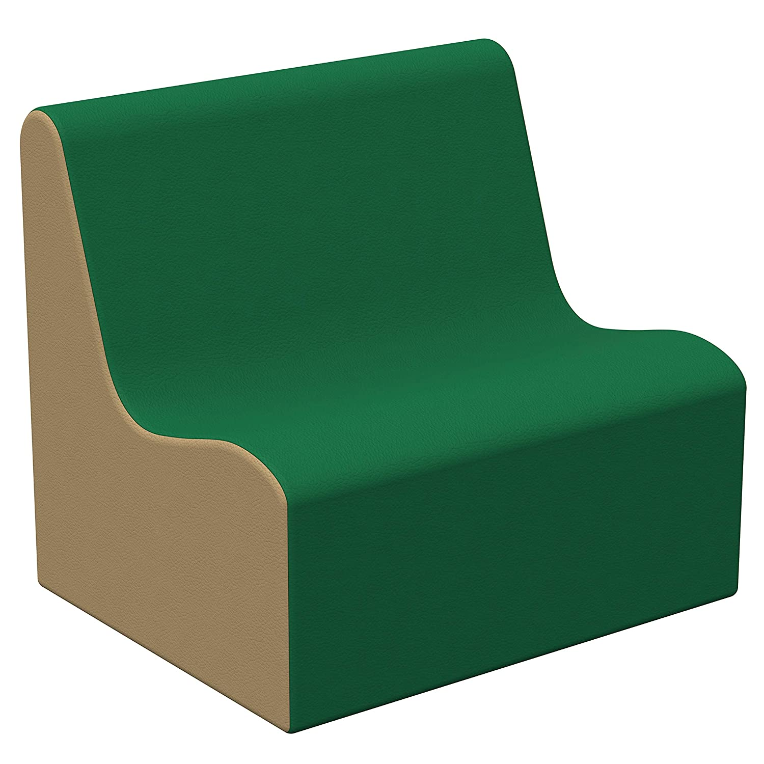 FDP SoftScape Wave Preschool Sofa Seating, Play Soft Supportive Foam Furniture for Kids for Bedrooms, Playrooms, Classrooms - Green/Sand