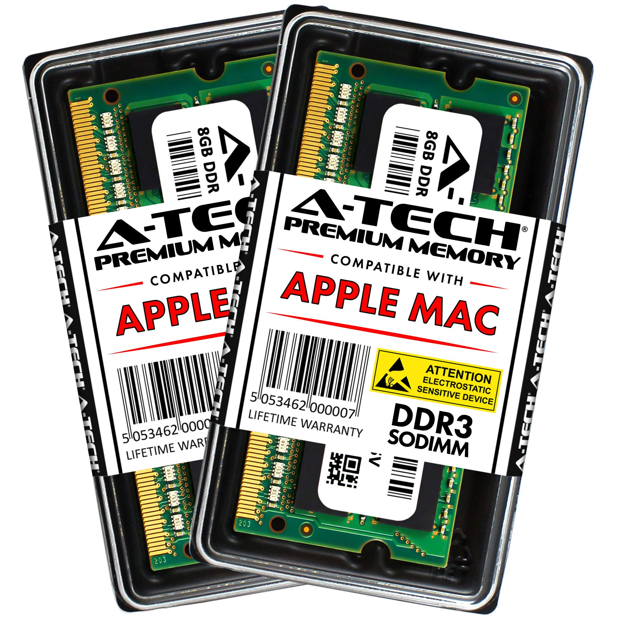 A-Tech 16GB Kit (2x 8GB) DDR3 1600MHz PC3-12800 204-pin SODIMM for Apple MacBook Pro (Mid 2012), iMac (Late 2012, Early/Late 2013, Late 2014 5K, Mid 2015 5K), Mac mini (Late 2012) - Memory RAM Upgrade by A-Tech