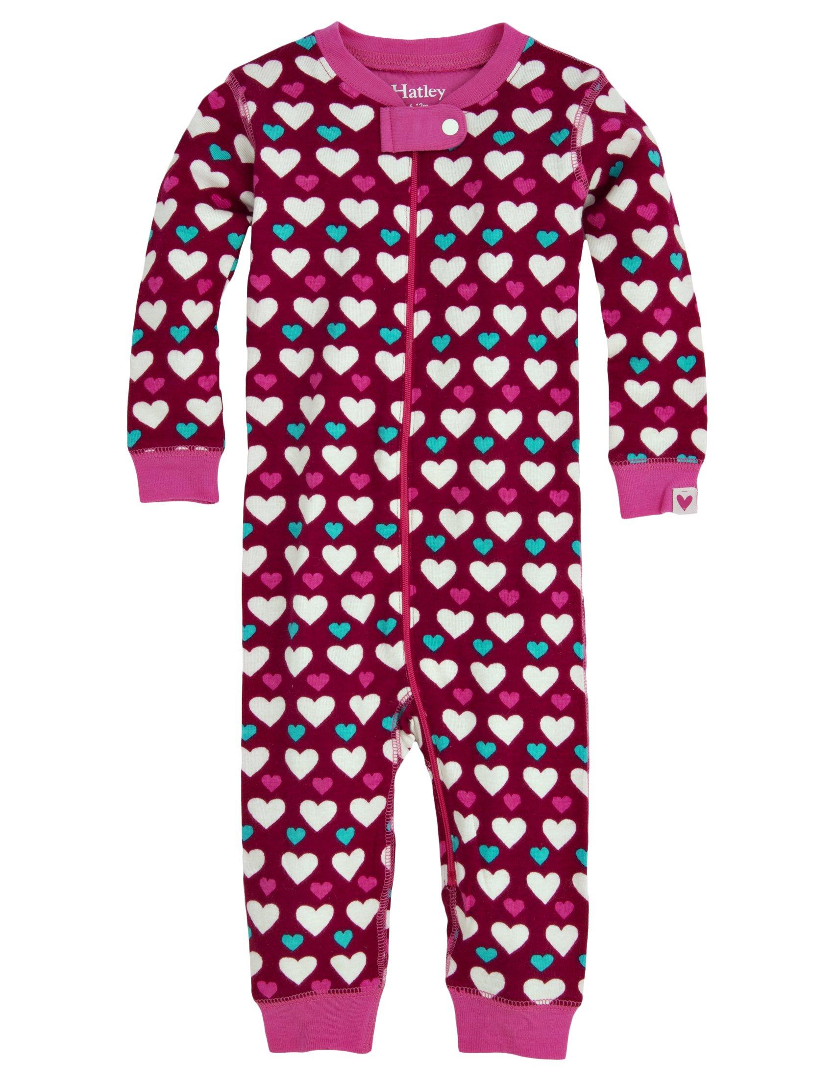 Hatley Baby Girls' Sleepy Romper Lots Of hearts, Red, 12 18 Months