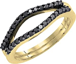 Dazzlingrock Collection Alianza de boda de 0,35 quilates con diamantes redondos de 1/3 quilates, oro de 18 quilates