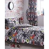 Kidz Club Jugendliche Einzelbett Bettbezug und Kissenbezüge Bettwäsche-Set Cool Skateboards und Graffiti Bettbezug Set–Tricks, grau