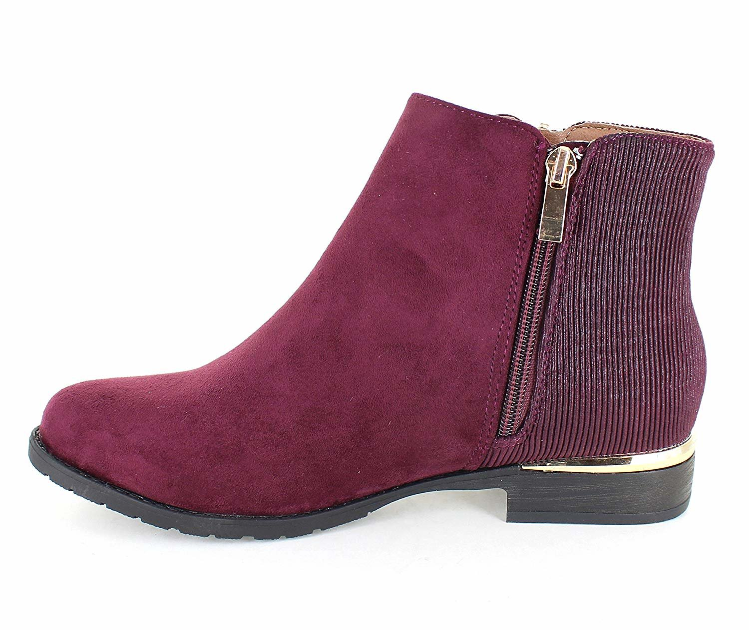 only Gold U Casual Faux Suede Gold only Trim Ankle Boots B07F9HFVHK 7.5 B(M) US|Wine b27b4a