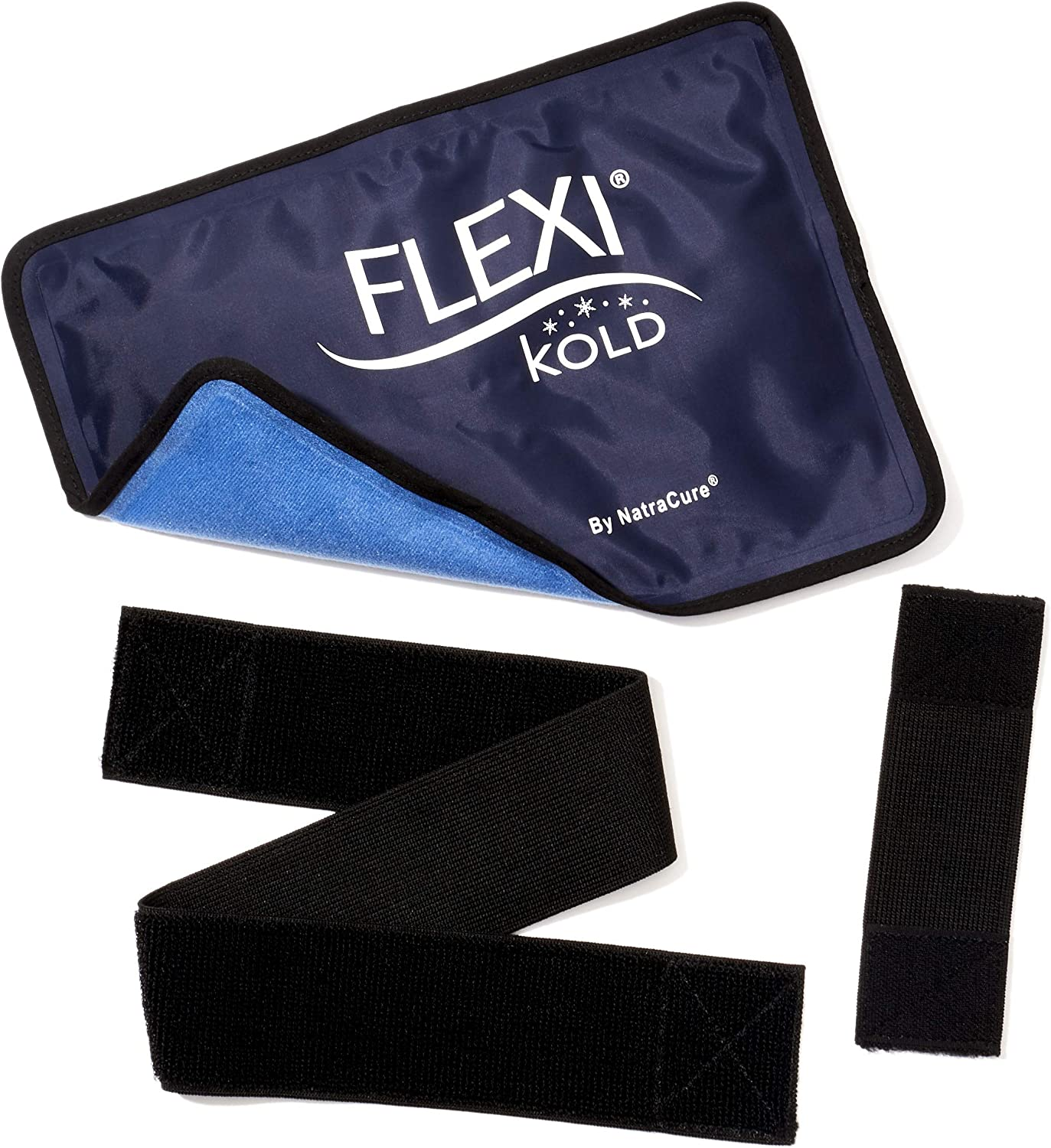 """FlexiKold Gel Ice Pack w/Straps (Half Size: 7.5"""" x 11.5"""") - Reusable Cold Pack Compress (Therapy for Pain and Injuries of Knee, Shoulder, Foot, Back, Ankle, Hip) - 6303-COLD-STRAPPED"""