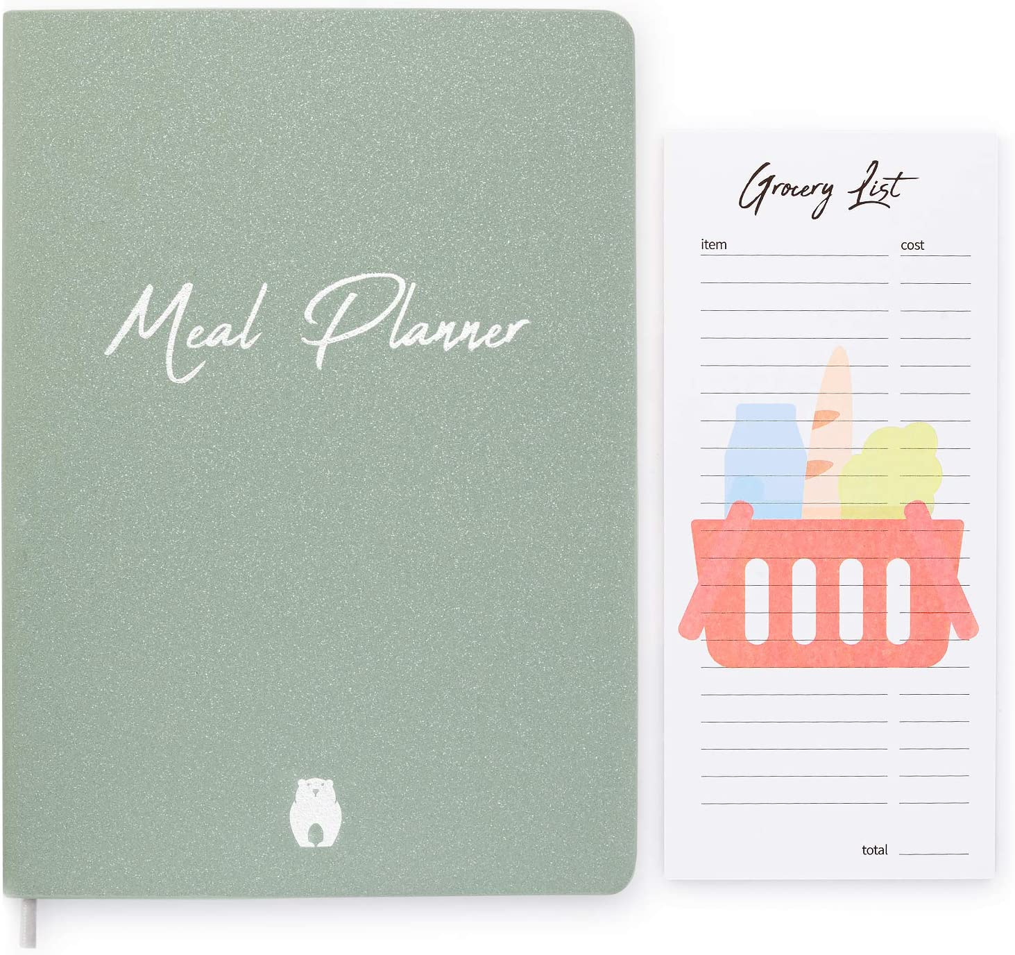 Meal Planner with Grocery List Notepad - Unique Bundle to Plan Your Meals and Snacks - Weekly Meal Planner, Grocery Budget, Fridge Inventory, Pill Tracker