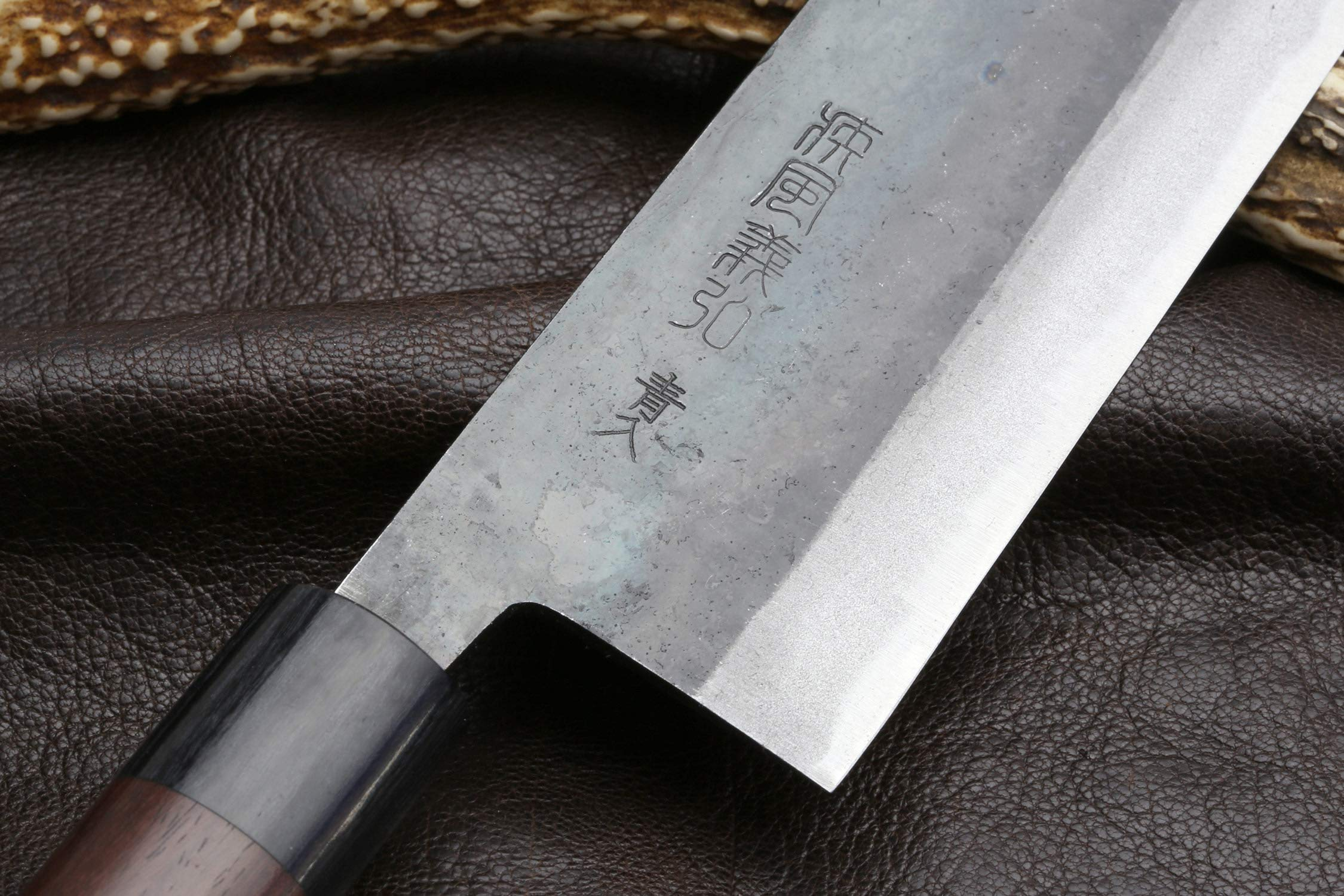 Yoshihiro Mizu Yaki Blue Steel Kurouchi Nakiri Japanese Vegetable Chef Knife (6.5'' (165mm) & No Saya) by Yoshihiro (Image #4)