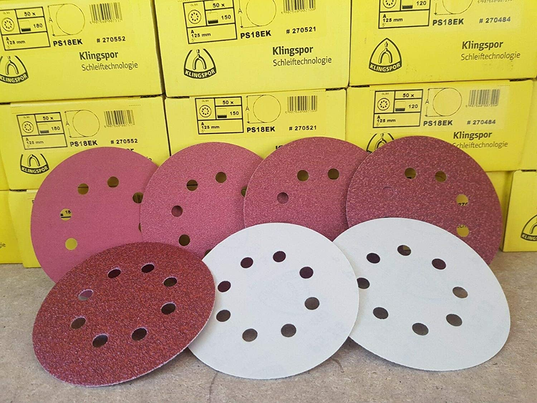 25 x 125mm Sanding Discs Sandpaper 8 Holes Pads GLS5 Grit 240