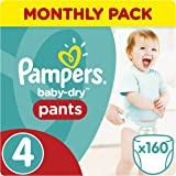 Pampers Baby-Dry Pants , 8-14 kg, 160 Nappy Pants, Monthly Pack - Size 4
