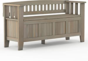 Simpli Home Acadian Entryway Storage Bench, 48 inch, Distressed Grey