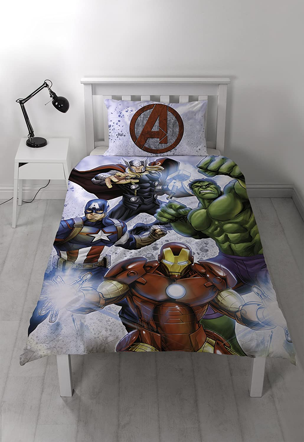 Marvel Avengers Duvet Cover Set, Polyester-Cotton, White, Single Character World DMASTIDS001UK1