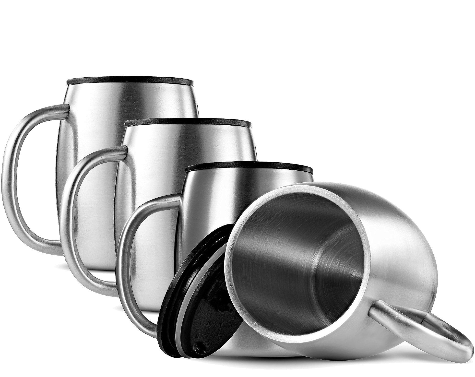 FineDine Double Wall 18/8 Stainless Steel Coffee Mugs with Spill Resistant Lids Insulated Coffee Travel Mug with Comfortable Handle for Hot & Cold Drinks, Shatterproof Coffee Cups, 14 Oz. (Set of 4) by FINEDINE