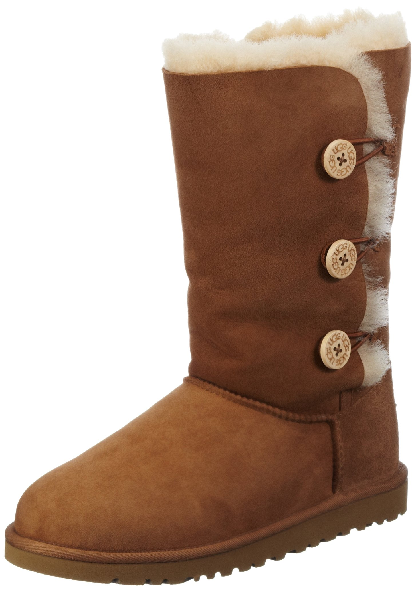 Kid's UGG Bailey Button Triplet chestnut size 4 us by UGG (Image #1)