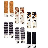 CNNIK 6 Pares Calcetines de mujer para el invierno, lindos calcetines de pata de gato de lana de dibujos animados de…