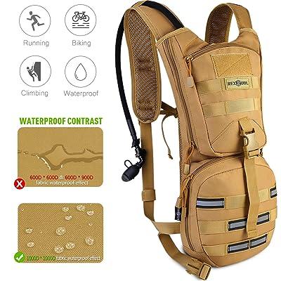 2.5 l hydratation sac à dos 1000D, réglable Pack d'eau tactique avec la Sac à dos, grand rangement bandes réfléchissantes sac à dos imperméable léger pour hommes femmes