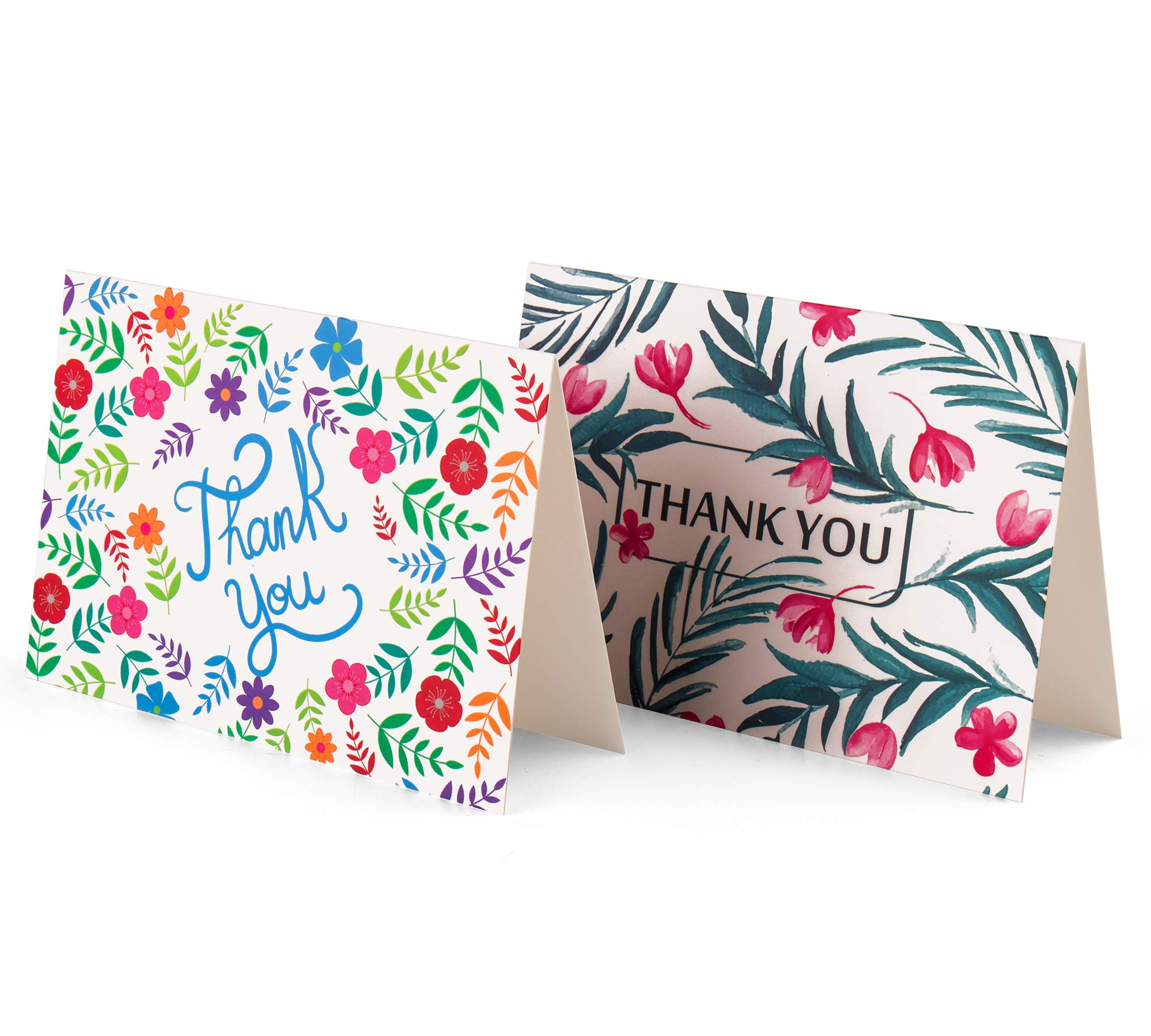 100 Pack Floral Thank You Cards Blank Greeting Notes for Wedding, Bridal Shower Baby, Shower Graduation, Anniversary, Birthday with Envelopes