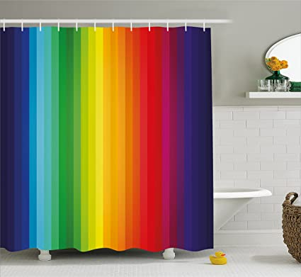 Lunarable Rainbow Shower Curtain Inspired Vertical Lines Pattern Spectrum Of Colors Abstract Art Palette