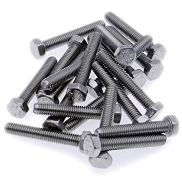 Hex Bolt A2 M6 6mm x 30mm Fully Threaded Setscrew Pack of 20 - Stainless Steel