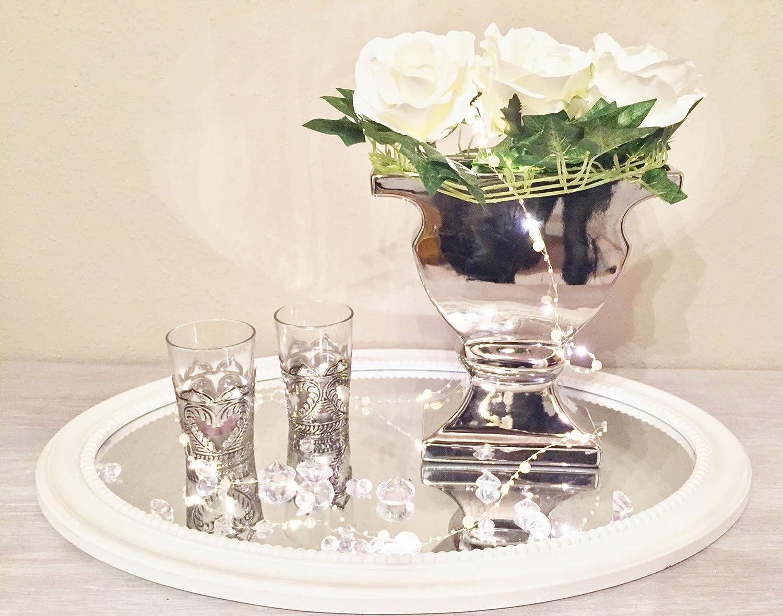 DRULINE Keramik Vase Silber Hochglanz Blumenvase Dekovase Tischvase Shabby Chic