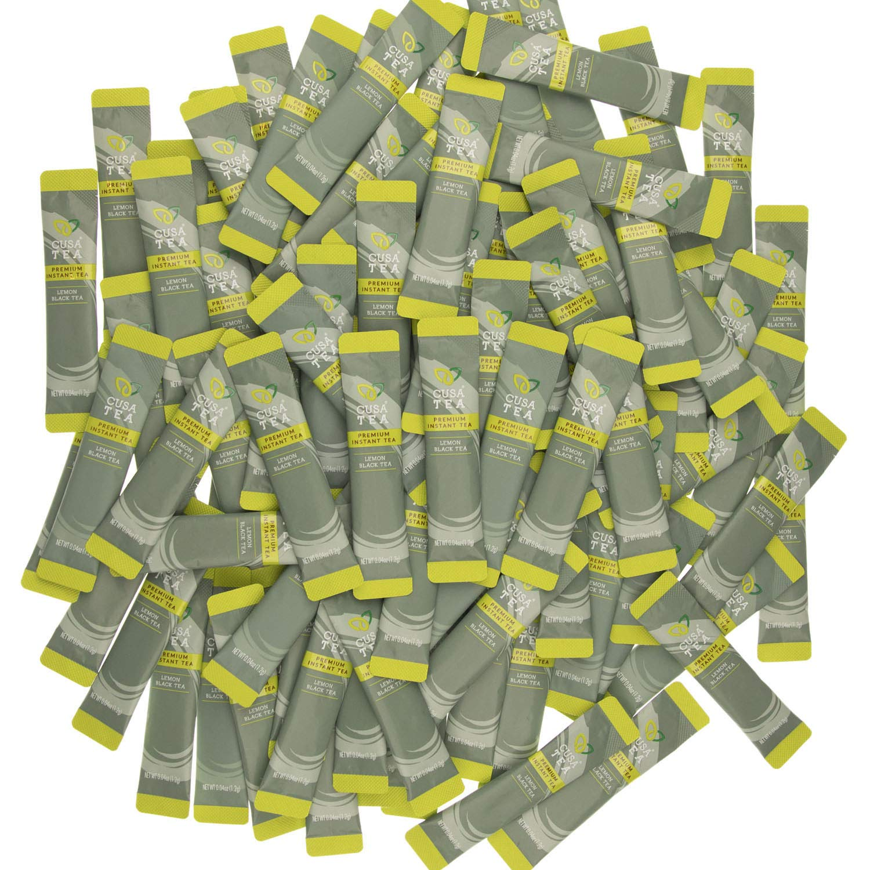 Lemon Black Tea by Cusa Tea - Cold Brew Tea - Premium Organic Instant Tea - USDA Organic Certified Tea and Real Lemon Fruit - Zero Sugar, Preservatives or Flavorings (100 servings)
