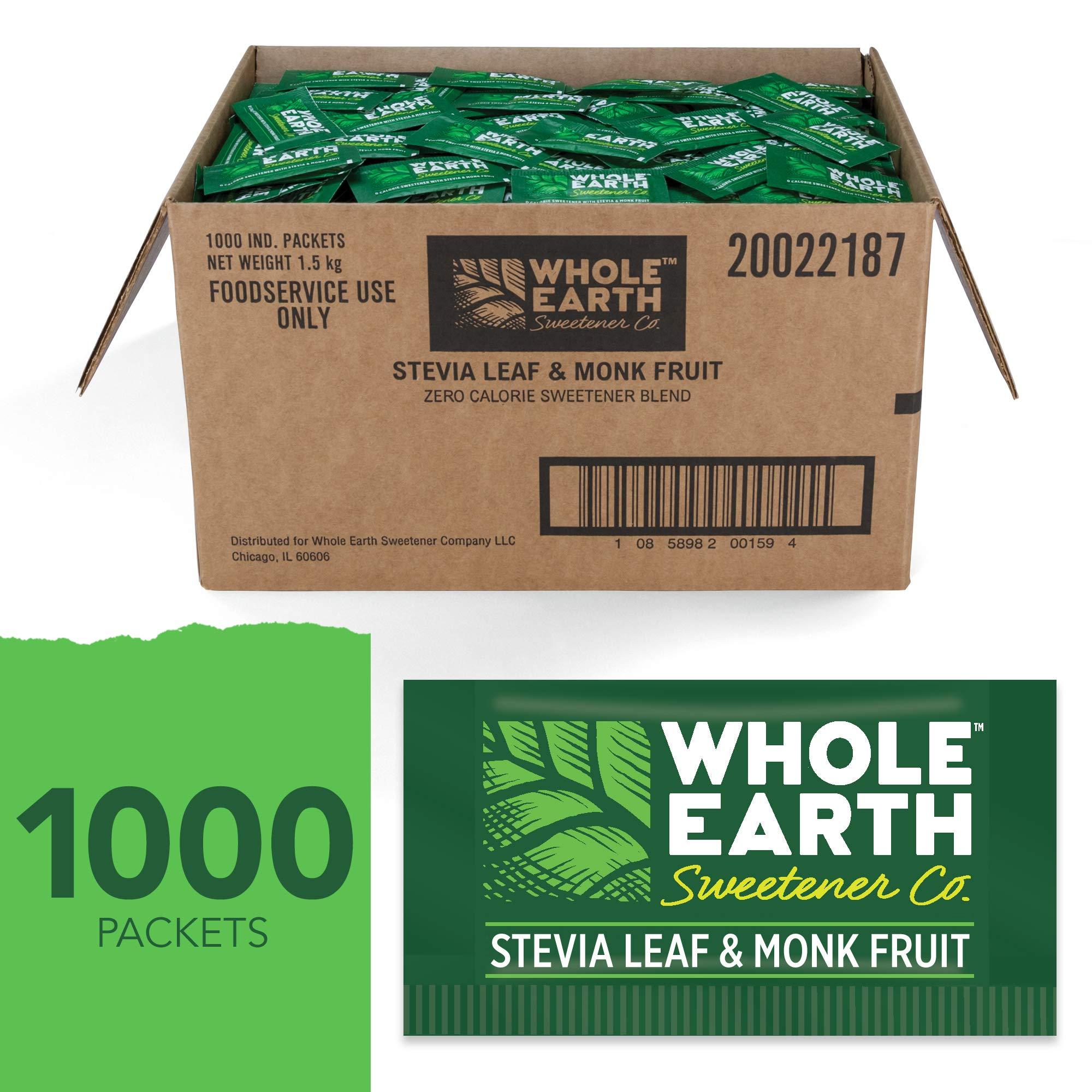 WHOLE EARTH SWEETENER Stevia and Monk Fruit Sweetener, Erythritol Sweetener, Sugar Substitute, Zero Calorie Sweetener, 1,000 Stevia Packets by Whole Earth Sweetener Company