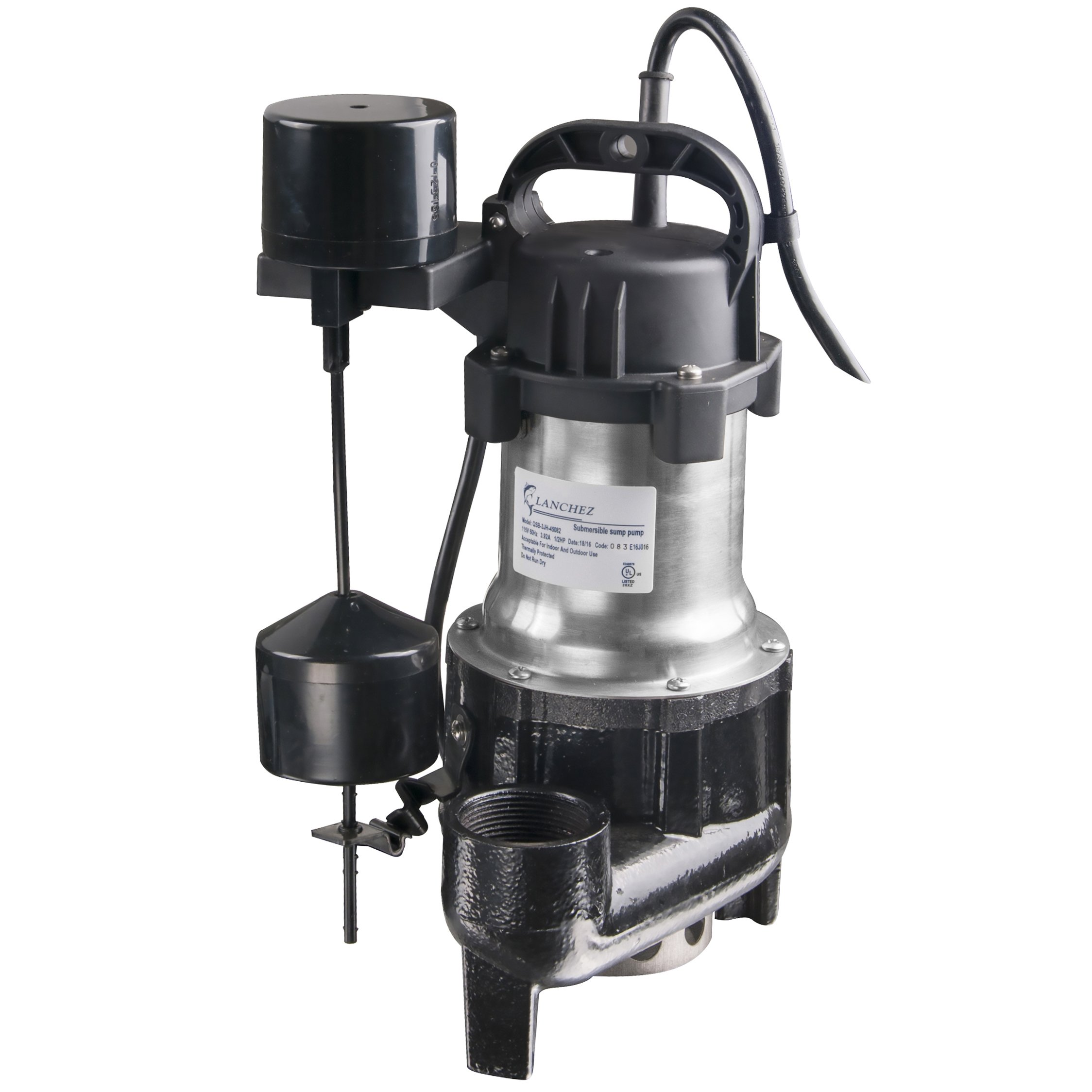 Lanchez Q450B82V Stainless Steel and Cast Iron Submersible Sump Pump Sewage Pump With Float Switch for Dirty Water
