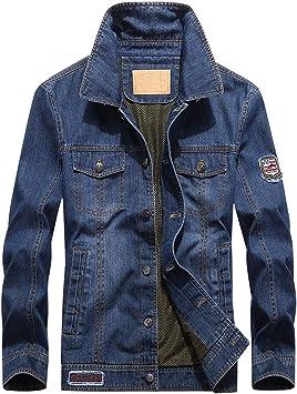 デニムジャケット メンズ刺繡ラベルの装飾 レトロスリムフィットトラッカーワークコート マルチポケットデニムジャケット