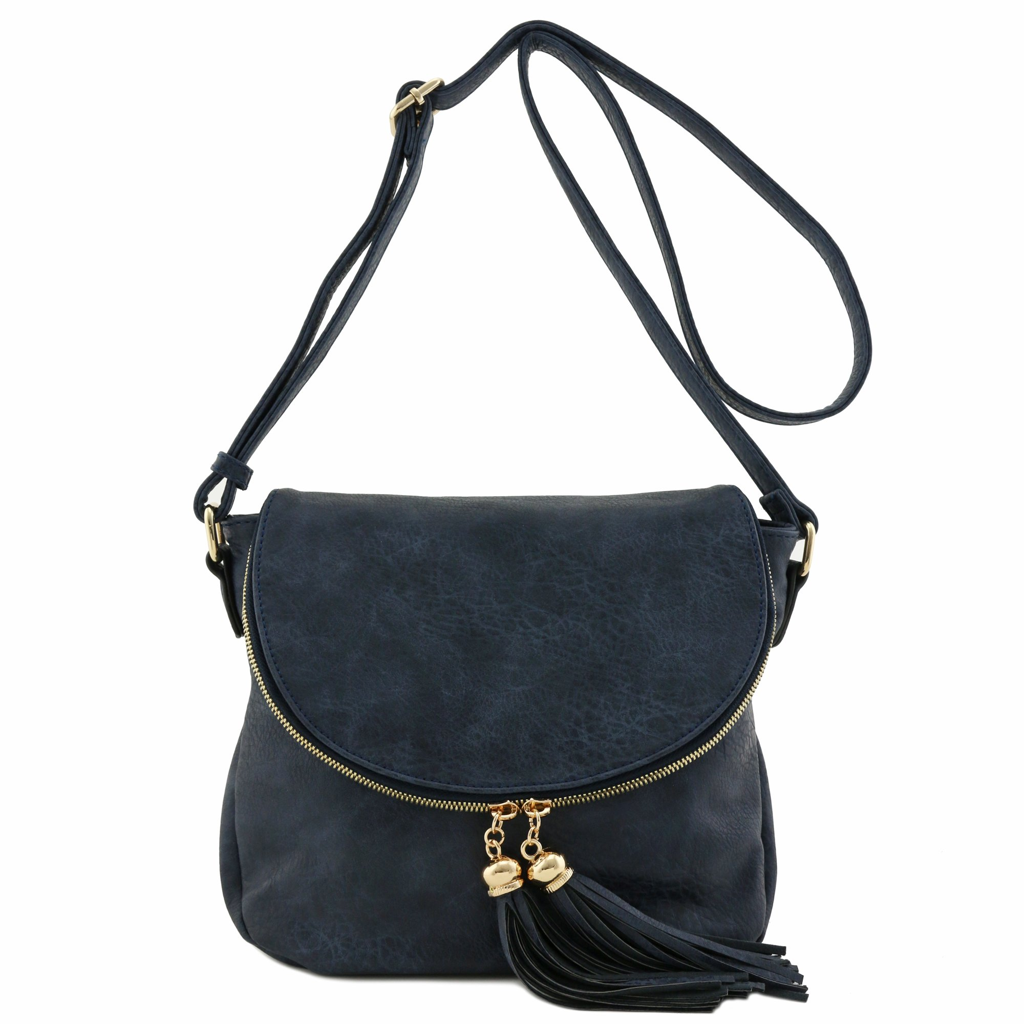 Tassel Accent Crossbody Bag with Flap Top (Navy)