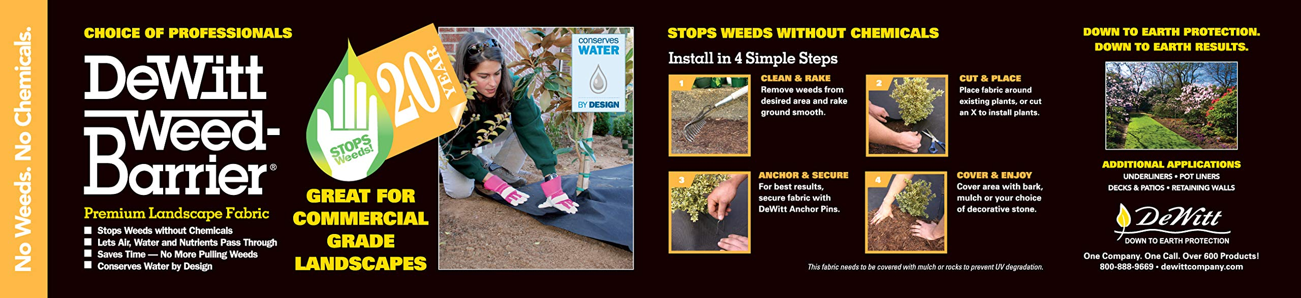 Dewitt 3-by-100-Feet 4.1-Ounce 20-Year Weed Barrier Fabric