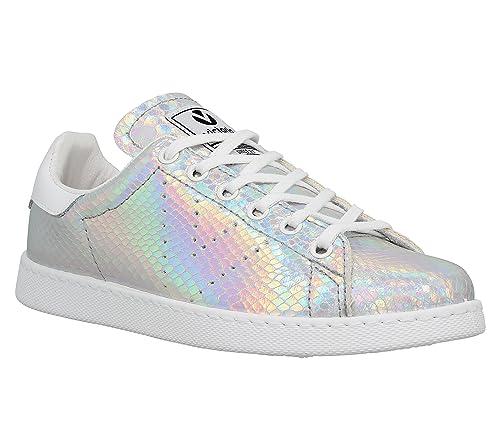 Victoria Zapatillas 12544 - Deportiva Holograma Serpiente, Color Plata, Talla 35: Amazon.es: Zapatos y complementos