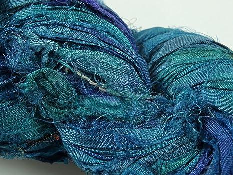 Jewelry Making Trim Mint Blue 100g Recycled Sari Silk Ribbon Yarn