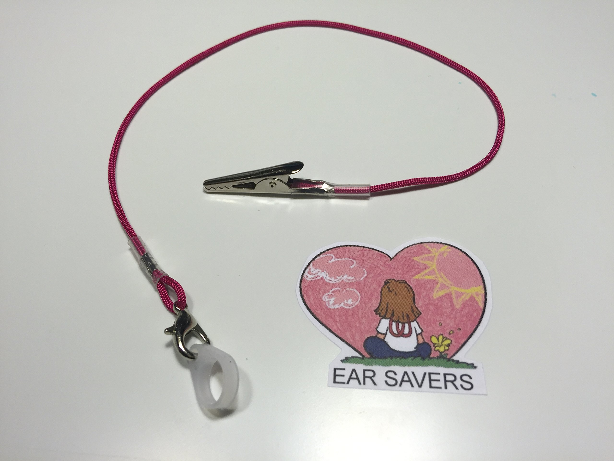 Single Pink Lanyard Clip for Hearing Aids or Cochlear Implants