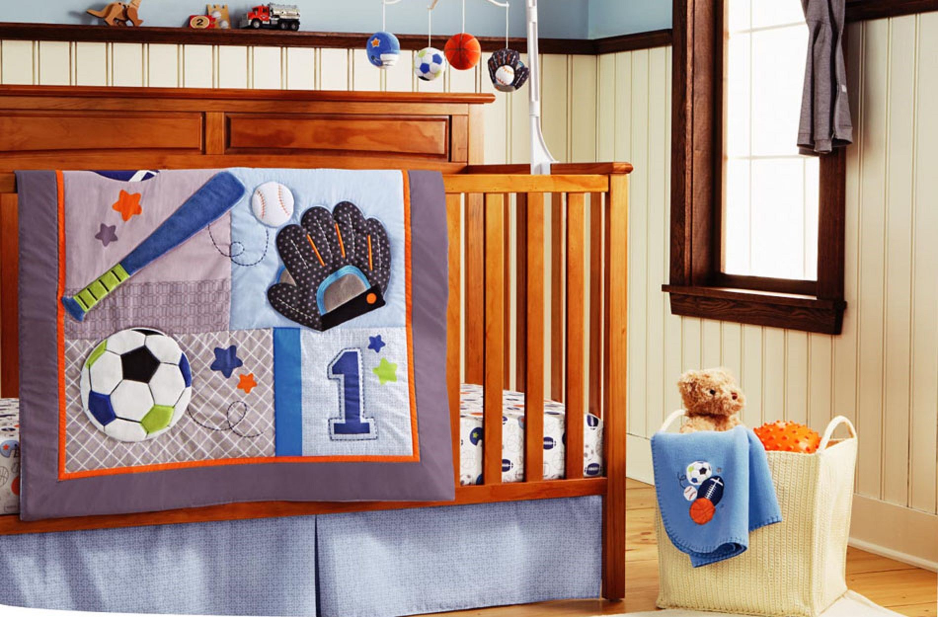 New 11 pieces Baby Boy Sport Crib Bedding Set by F.C.L
