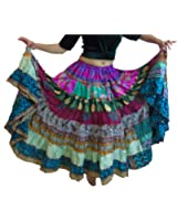 1 - 7 Yard Tribal Gypsy Maxi Tiered Skirt Belly Dancing Skirts Silk Blend Banjara Fits S M L XL (Assorted)