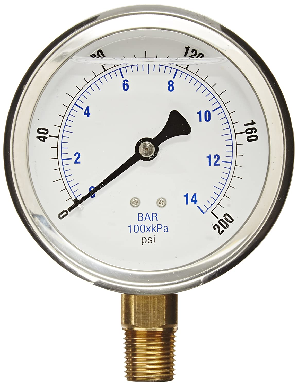 PIC Gauge 201L 402G 4 Dial 0 200 psi Range 1 2 Male NPT Connection Size Bottom Mount Glycerine Filled Pressure Gauge with a Stainless Steel Case Brass Internals Stainless Steel Bezel and Polycarbonate Lens