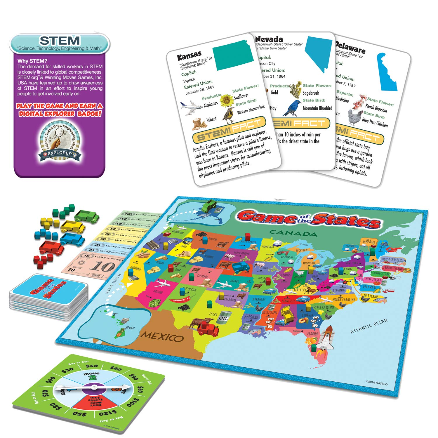 Amazon Com Winning Moves Games Game Of The States Can You Sell The Most From Coast To Coast Game Board Game Toys Games