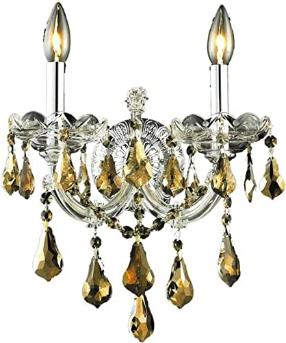 Elegant Lighting 2801W2C-GT/RC Maria Theresa 16-Inch High 2-Light Wall Sconce