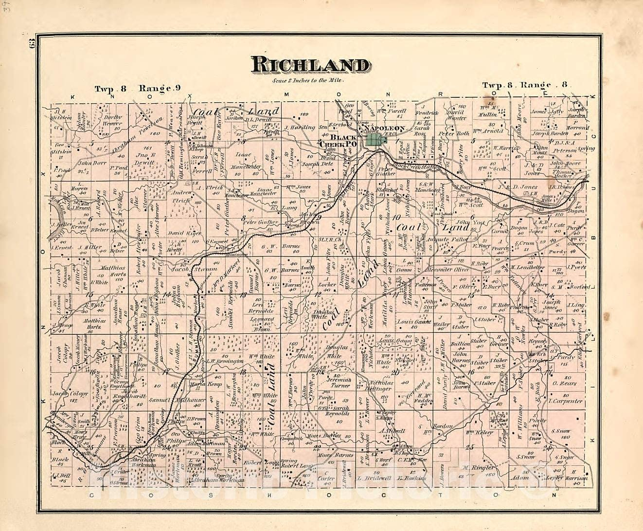 Historic 1875 Map - Caldwell's Atlas of Holmes Co, Ohio - Richland - Caldwell's Atlas of Holmes County, Ohio 44in x 37in