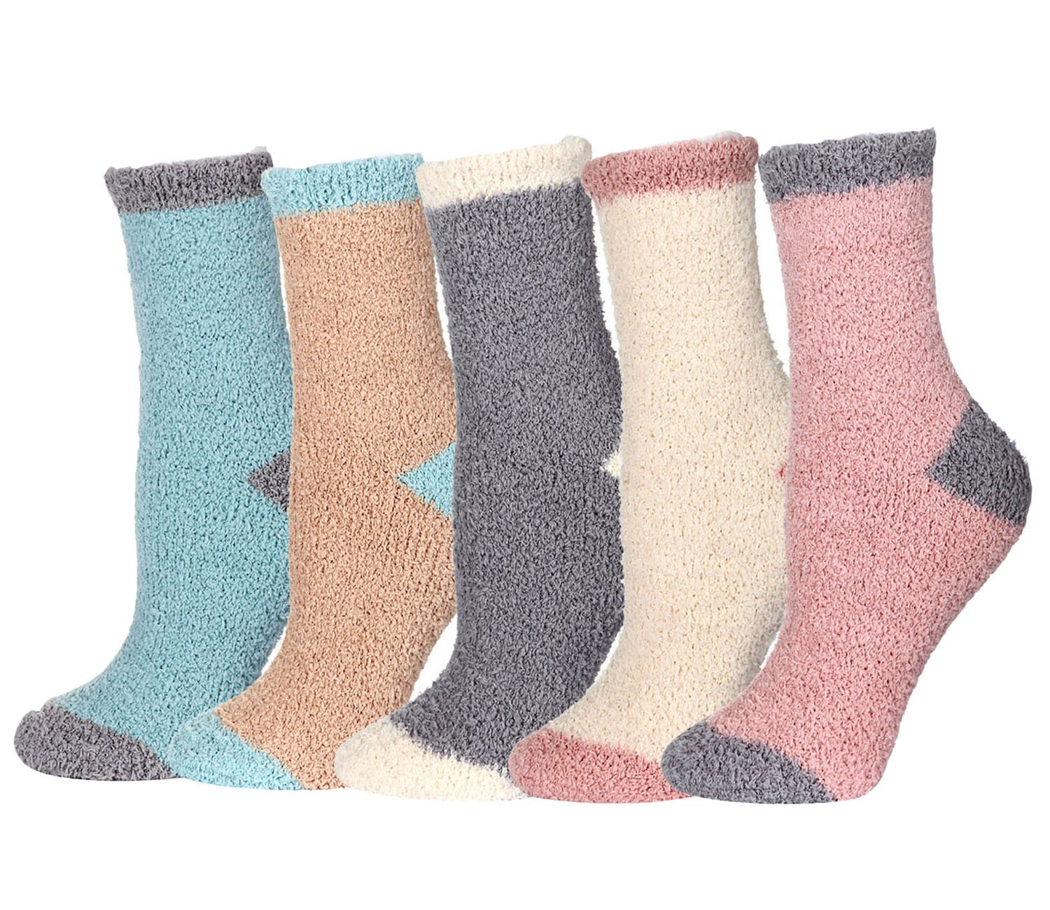 5 Pairs Fuzzy Fluffy Socks Women Girls Microfiber Slipper Sleeping Winter Warm Thermal Home Crew Socks Holiday Gifts FAYBOX