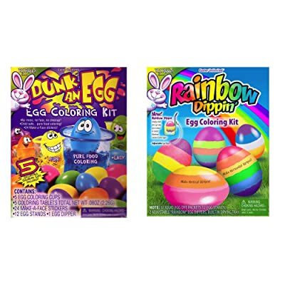 RJ Rabbit Easter Fun Easter Egg Kits Set of Two - Dunk an Egg Mess & Fuss Free Dye Sticker Kit & Rainbow Dippin Kit - Cup Stopper Makes Stripes (Dunk an Egg & Rainbow Eggs): Toys & Games