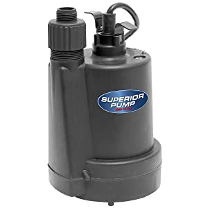 Superior Pump 91250 1/4 HP Submersible Thermoplastic Utility Pump, Black