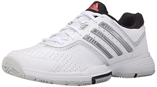 adidas Women's Barricade Court 2 Tennis Shoes, White/Metallic Silver/Black,  5