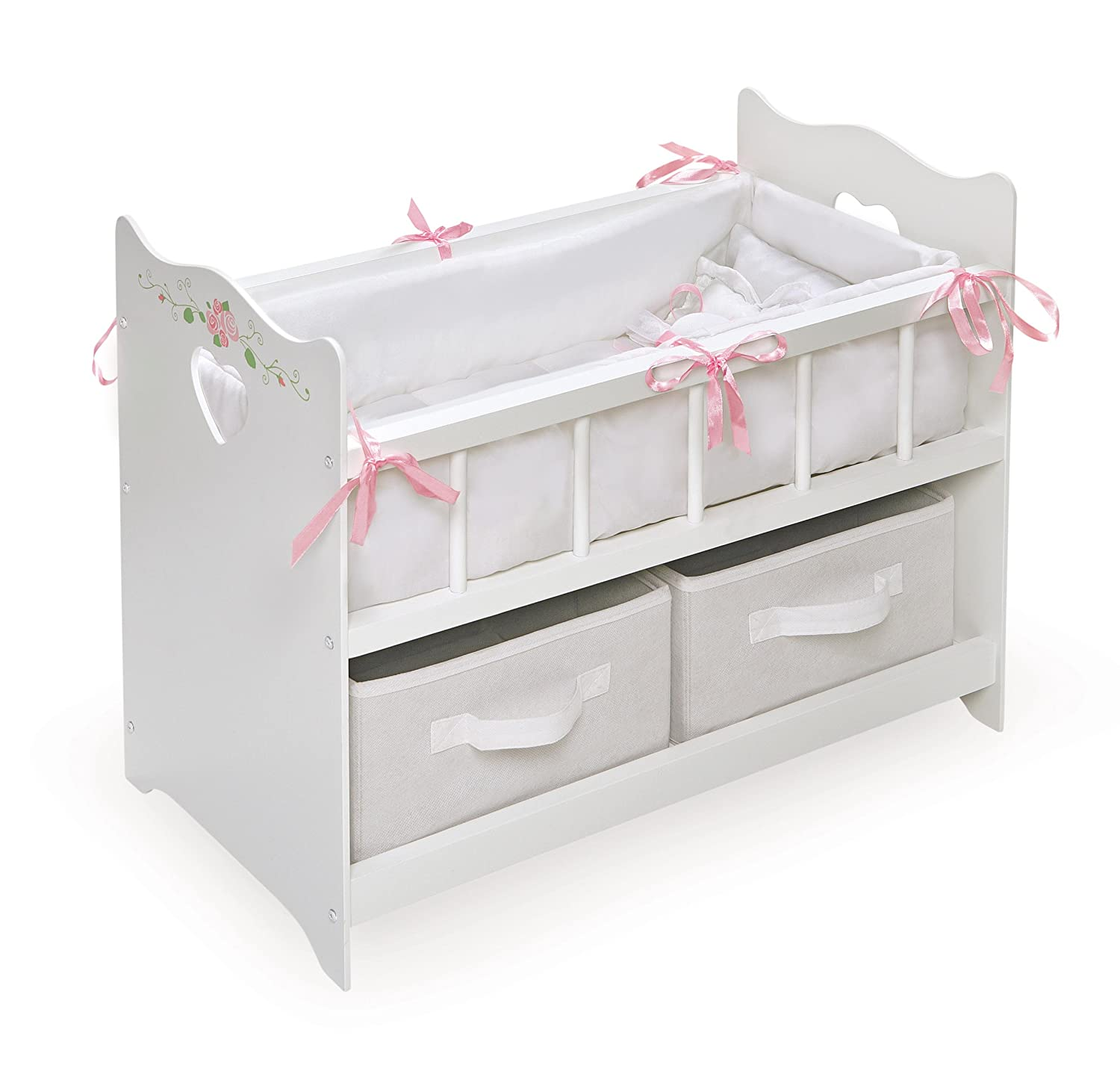 amazon com badger basket white rose doll crib with two baskets