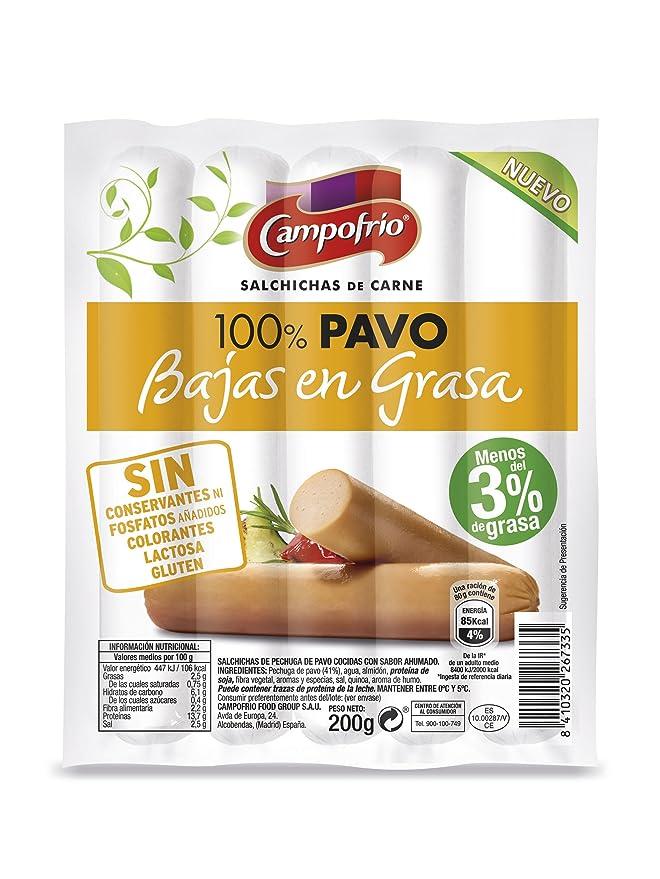 Campofrio Salchichas de Pavo Bajas En Grasa - 200 gr: Amazon ...