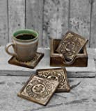 Mothers Day Gifts Icrafts Wooden Coasters Set of 6 Drink Coaster for Tea Cups Coffee Mugs Wine (Design1)