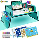 beetoy Kids Travel Tray for Car Seat, Play Activity Lap Tray for Toddler with Art Supplies iPad Holder Trap Waterproof Surface for Snacking Drawing